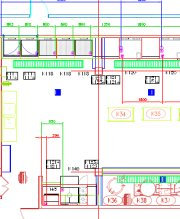 CAD drawing of a commercial kitchen